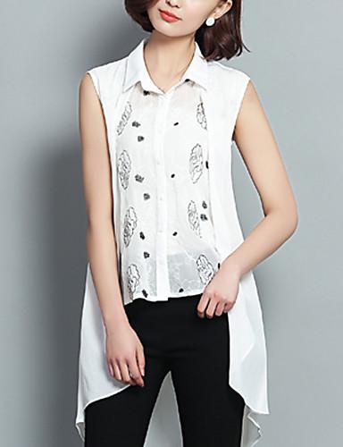 Damen Druck Einfach / Street Schick Ausgehen Hemd,Hemdkragen Ärmellos Weiß Polyester Dünn