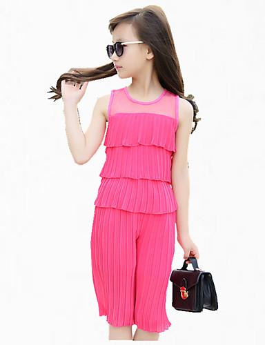 סט של בגדים מסיבה\קוקטייל טלאים פוליאסטר קיץ שחור / ורוד / אדום הילדה של