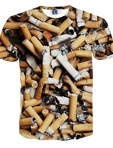 Herren T-shirt-Druck Freizeit Polyester Kurz