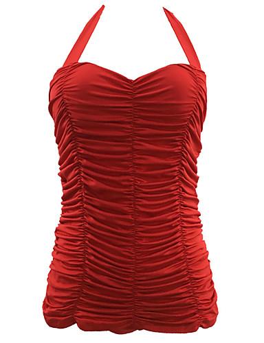 Női Pántos Egyszínű Egy részes Fürdőruha Egyszínű Fűzőzsinor Fehér Fekete Piros