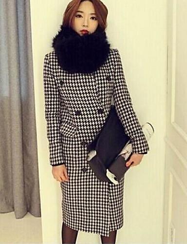 Cabans Femme,Pied-de-poule Sortie simple Manches Longues Revers Cranté Noir Coton Polyester