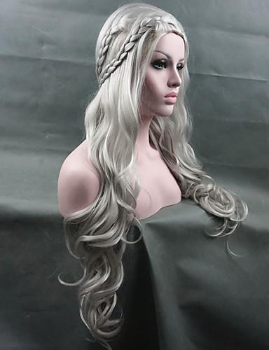 voordelige Cosplay Pruiken-Synthetische pruiken / Kostuum pruiken Golvend Kardashian Stijl Pixie-kapsel Zonder kap Pruik Wit Zilver Blonde Wit Synthetisch haar Dames Gevlochten pruik Wit Pruik Lang StrongBeauty