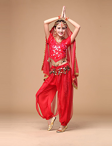 d37ccd0969182 Belly Dance Outfits Women's Performance Chiffon Sequin Short Sleeves  Natural Top / Pants