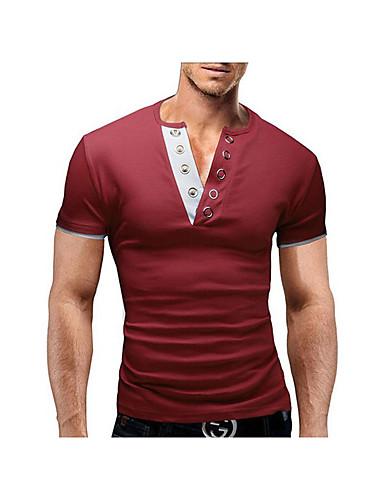 Masculino Camiseta Diário Sólido Algodão Manga Curta