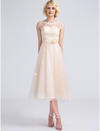 A-Line V Neck / High Neck / Jewel Neck Tea Length Tulle Bridesmaid Dress with Appliques / Lace by LAN TING BRIDE® / Mix & Match Sets