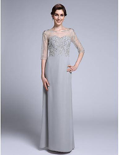 מעטפת \ עמוד לב (סוויטהארט) עד הריצפה שיפון שמלה לאם הכלה  עם חרוזים על ידי LAN TING BRIDE®