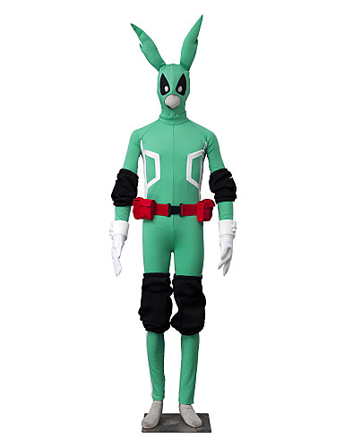 povoljno Anime kostimi-Inspirirana Moj heroj Akademija Battle For All / Boku nema heroja Academia Midoriya Izuku Anime Cosplay nošnje Japanski Cosplay Suits Jednobojni Dugih rukava Hula-hopke / Onesie / Rukavice / Pojas Za