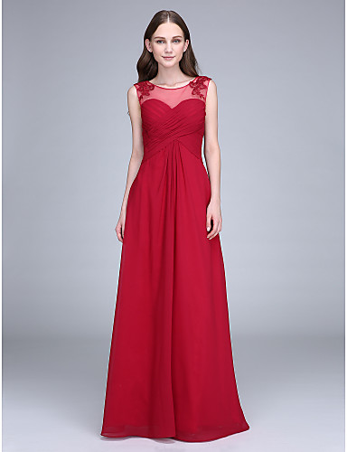 Sheath / Column Scoop Neck Floor Length Chiffon Bridesmaid Dress with Appliques / Lace Insert by LAN TING BRIDE® / Open Back