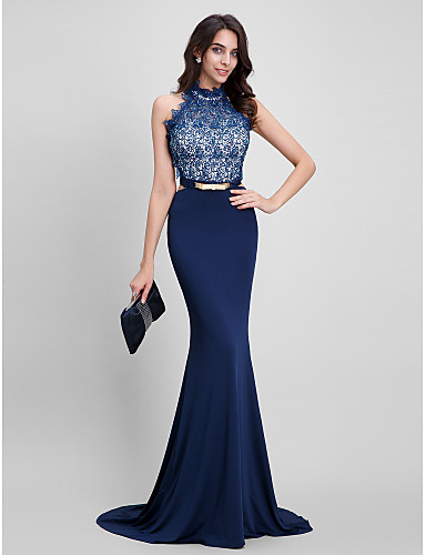 Mermaid / Trumpet Halter Sweep / Brush Train Beaded Lace Jersey Formal Evening Dress with Beading Lace by TS Couture®