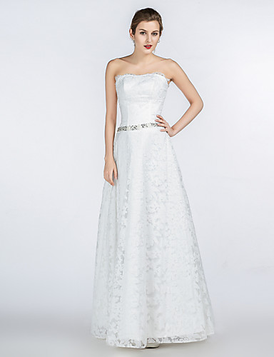 A-linje Stroppeløs Gulvlang Blonder Sateng Tyll Egendefinerte brudekjoler med Krystall Perlearbeid Blonder av A-Fu