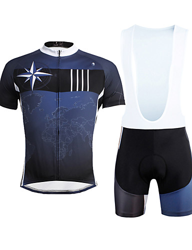 fd0b03106 ILPALADINO Men s Short Sleeve Cycling Jersey with Bib Shorts - Dark Blue Bike  Bib Shorts Jersey Clothing Suit Breathable 3D Pad Quick Dry Ultraviolet ...