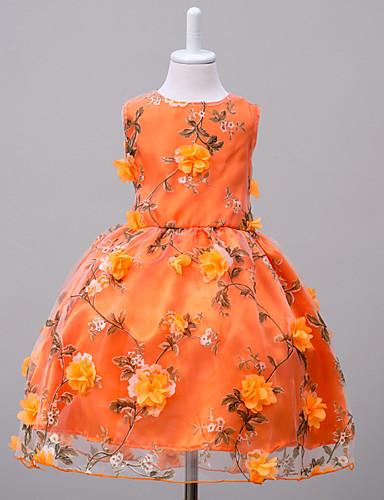 Robe Fille de Fin de semaine Sortie Fleur Polyester Eté Sans Manches Fleur Orange Rose