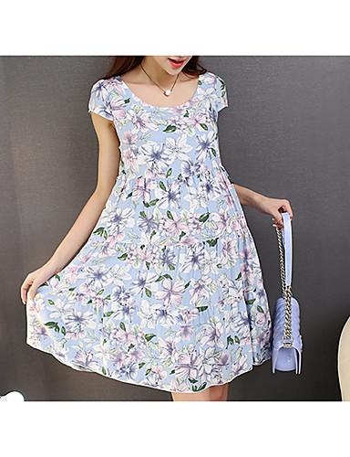 אביב חוטי זהורית שרוולים קצרים עד הברך צווארון עגול פרחוני חמוד ליציאה שמלה משוחרר מיקרו-אלסטי דק