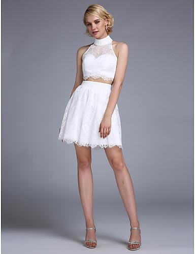 A-Linie / Zweiteiler Illusionsausschnitt Kurz / Mini Spitze Cocktailparty / Abschlussball / Abiball Kleid mit Perlenstickerei / Knöpfe
