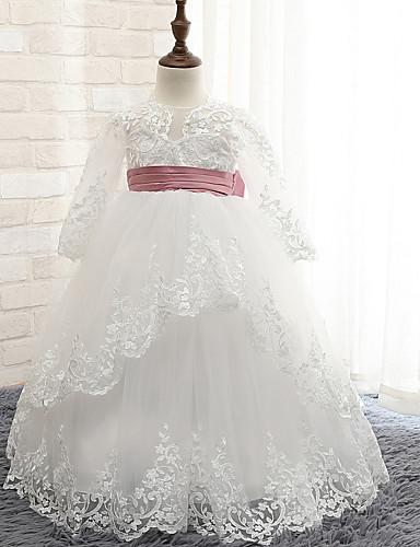 נשף עד הריצפה שמלה לנערת הפרחים - חוטי זהורית שרוול ארוך עם תכשיטים עם פפיון(ים) / סרט על ידי