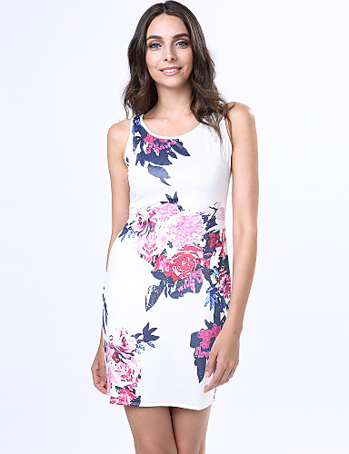 Mulheres Tubinho Vestido Floral Gola Redonda