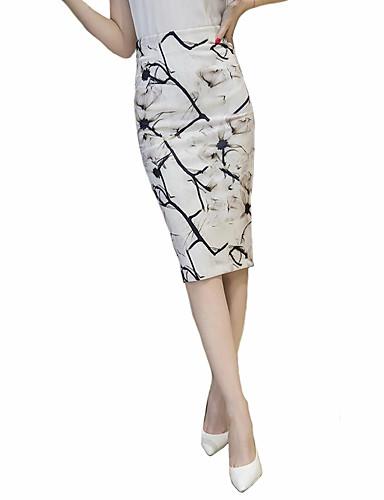 Mujer Tallas Grandes Chic de Calle Noche Algodón Corte Bodycon Faldas - Separado / Estampado, Floral