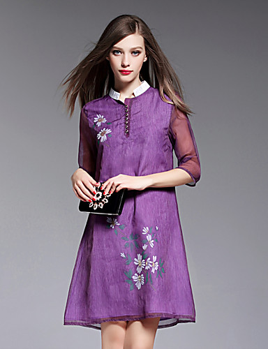BOMOVO® נשים עומד אורך שרוול 3/4 באורך ברך שמלות-B16XQH8