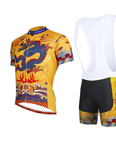 cheap Cycling Clothing-ILPALADINO Men's Short Sleeve Cycling Jersey with Bib Shorts Yellow Bike Bib Shorts Jersey Clothing Suit Breathable 3D Pad Quick Dry Ultraviolet Resistant Reflective Strips Sports Lycra Dragon