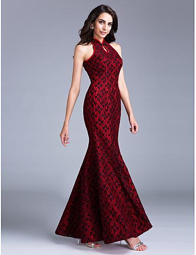 TS Couture Ball Formeller Abend Kleid - Vintage inspiriert Trompete / Meerjungfrau Stehkragen Knöchel-Länge Spitze mit Knöpfe