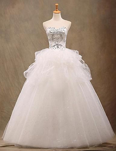 A-Linie Hochzeitskleid Boden-Länge Trägerlos Tüll mit Perlstickerei