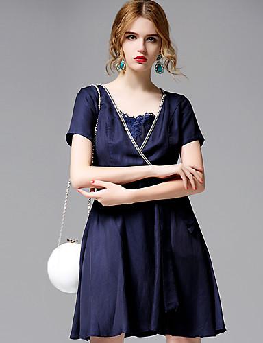 AFOLD® 女性 Vネック ショート 膝丈 ドレス-5656