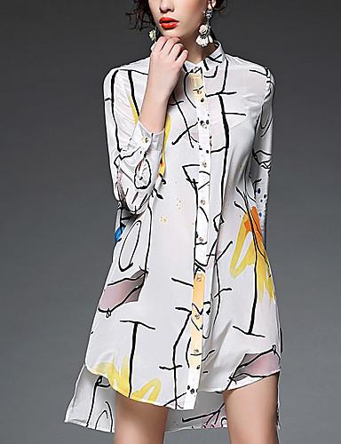 AFOLD® Feminino Colarinho de Camisa Manga 3/4 Longuete Vestidos-5240