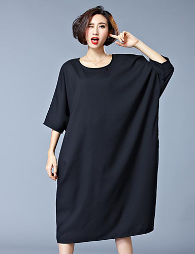 Mulheres Casual Vestido Sólido Médio