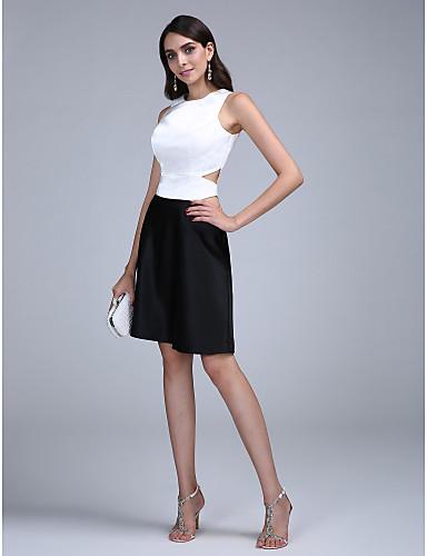 A-Linie Schmuck Knie-Länge Stretch - Satin Muster / Ausgeschnitten Cocktailparty / Abiball Kleid mit Plissee durch TS Couture®