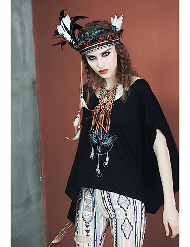 Mujer Simple Plisado / Agujero - Algodón Camiseta Estampado / Verano