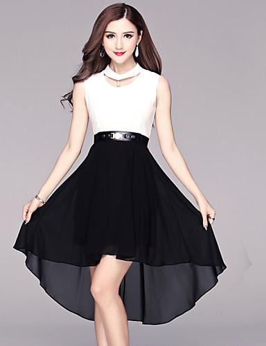 BOMOVO® נשים צווארון עגול קצר מעל הברך שמלות-B16XAQ6