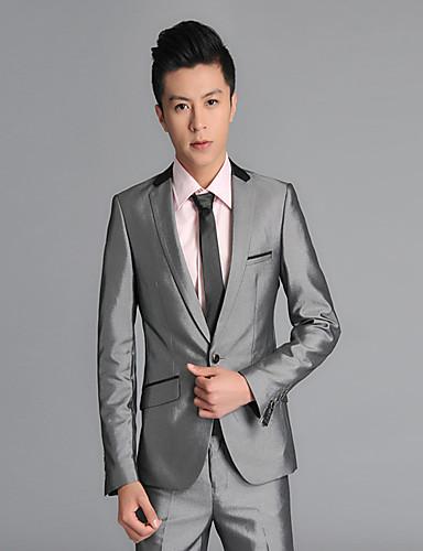 Grau Solide Weite Passform Wolle Anzug - Fallendes Revers Einreiher - 1 Knopf