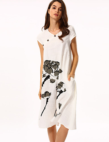 Women's Daily Chinoiserie Loose Knee-length Dress, Floral Round Neck Short Sleeves