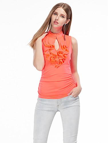 レディース お出かけ 夏 Tシャツ,シンプル オフショルダー ソリッド ポリエステル スパンデックス ノースリーブ 薄手