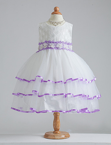 A-line knelang blomst jente kjole - bomull blonder satin tulle ermeløs juvel med bue (r)