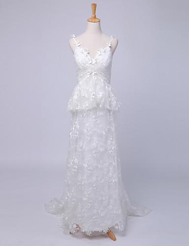 Tubinho Vestido de Noiva Cauda Escova Com Alças Finas Renda / Cetim com Cruzado / Renda / Estampa