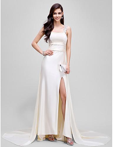 시스 / 칼럼 코트 트레인 져지 포멀 이브닝 드레스 와 앞면 트임 으로 TS Couture®
