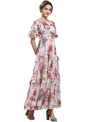Mulheres Bainha / Chifon Vestido,Festa/Coquetel Boho Floral Sem Alças Longo Manga Curta Branco Seda / Poliéster Todas as Estações