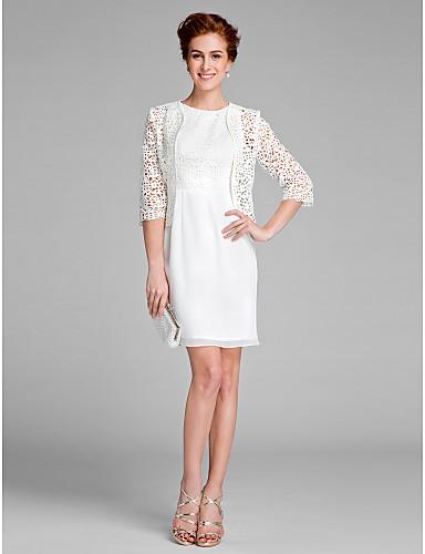 מעטפת \ עמוד עם תכשיטים באורך  הברך שיפון תחרה שמלה לאם הכלה   -  תחרה על ידי LAN TING BRIDE®