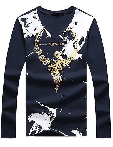 Masculino Camiseta Algodão / Elastano Estampado Manga Comprida Casual / Tamanhos Grandes-Preto / Azul / Branco