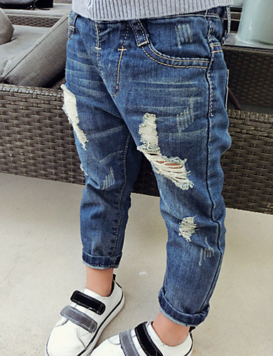 מכנסיים ג'ינס כותנה אביב סתיו יום יומי\קז'ואל אחיד יוניסקס כחול