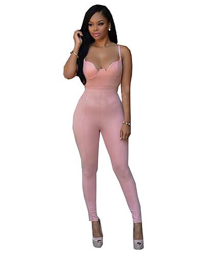 Damen Jumpsuits - Street Schick Ärmellos Polyester Mikro-elastisch
