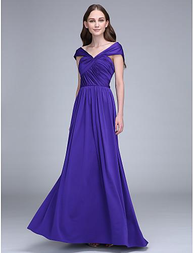 מעטפת \ עמוד עד הריצפה ג'רסי שמלה לשושבינה  עם בד בהצלבה על ידי LAN TING BRIDE®