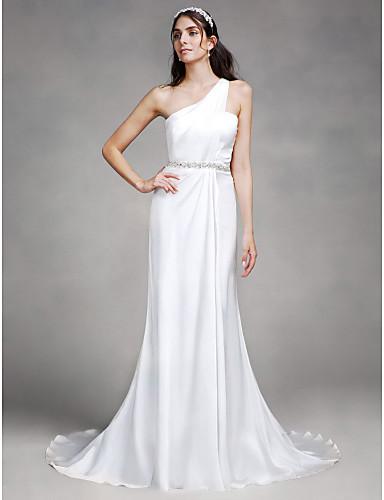 Eng anliegend Ein-Schulter Hof Schleppe Satin Hochzeitskleid mit Perlenstickerei durch LAN TING BRIDE®