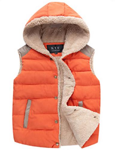 婦人向け お出かけ 春 / 秋 ジャケット,ストリートファッション シャツカラー ソリッド ブルー / ホワイト / ベージュ / ブラック / グリーン / オレンジ コットン ノースリーブ ミディアム