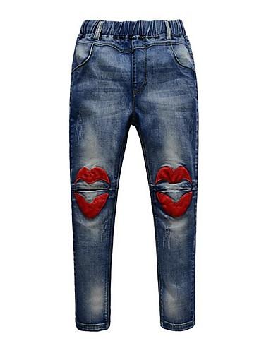 Menina de Calças / Jeans,Casual Listrado Pêlo Sintético / Algodão Verão / Inverno / Primavera / Outono Cinza