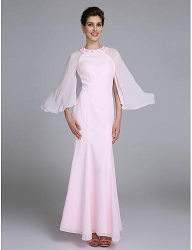 Havfrue Besmykket Ankellang Chiffon Kjole til brudens mor med Perlearbeid av LAN TING BRIDE®