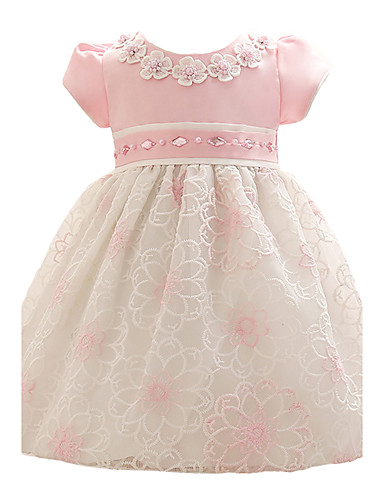 תִינוֹק שמלה פוליאסטר קיץ שרוול קצר Party פרחוני הילדה של פרחוני לבוש מהודר ורוד כחול בהיר