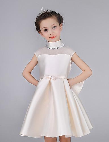 Uma linha de joelho vestido de comprimento menina flor - cetim de algodão pescoço sem mangas alto com arco (s) faixa / fita