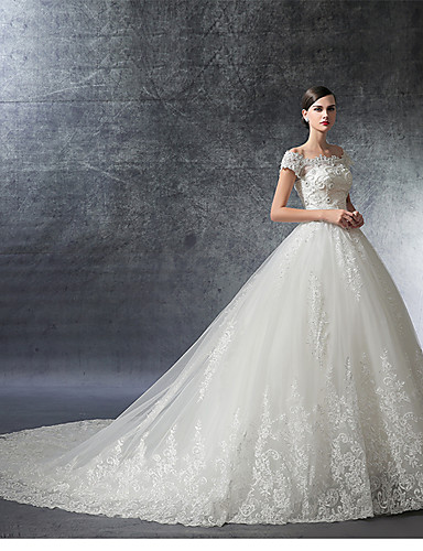5a237af775 Ball Gown Off Shoulder Cathedral Train Satin / Lace Over Tulle  Made-To-Measure Wedding Dresses with Crystal / Appliques / Ruffle by LAN  TING Express ...